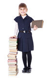 Schoolgirl with books i Royalty Free Stock Photos