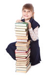 Schoolgirl with books i Royalty Free Stock Photo