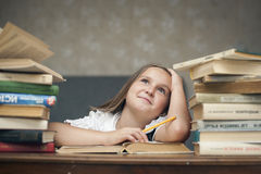 Schoolgirl and books Stock Images