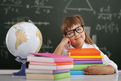 Schoolgirl with books Royalty Free Stock Image