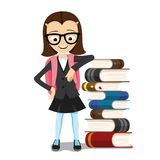 Schoolgirl with books. Schoolgirl with books on a white background Stock Images