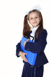 Schoolgirl with briefcase Royalty Free Stock Photo