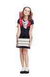 Schoolgirl with the briefcase and books royalty free stock images