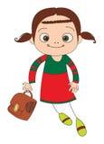 Schoolgirl with briefcase Stock Image