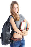 Schoolgirl with bunch of books Royalty Free Stock Photo