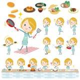 Schoolgirl Caucasian cooking. Set of various poses of Schoolgirl Caucasian cooking Royalty Free Stock Photography