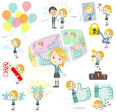 Schoolgirl Caucasian success & positive. Set of various poses of Schoolgirl Caucasian success & positive Stock Photos