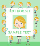 Schoolgirl Caucasian text box Royalty Free Stock Photo