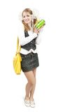 Schoolgirl with christmas gifts Stock Images