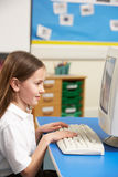 Schoolgirl In IT Class Using Computer royalty free stock photography