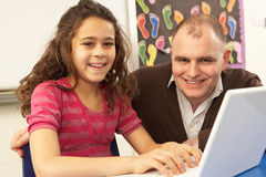 Schoolgirl In IT Class Using Computer With Teacher Stock Photography