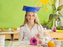 Schoolgirl in the classroom Royalty Free Stock Images