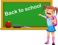 Schoolgirl Crying for Back to School Stock Photo