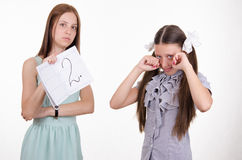 Schoolgirl crying because of two entries Royalty Free Stock Photos
