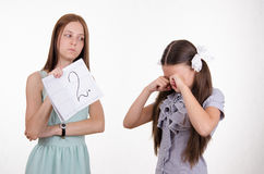 Schoolgirl crying upset because of two received Stock Images