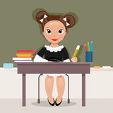 Schoolgirl at the desk. Vector Illustration Royalty Free Stock Photos