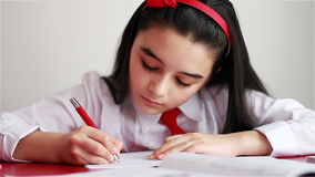 Schoolgirl doing her homework stock footage