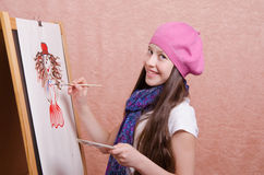 Schoolgirl drawing at a lesson Stock Photo