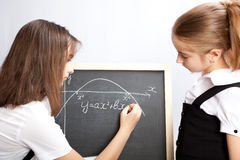 Schoolgirl, draws the schedule Stock Photo