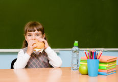 Schoolgirl eating fast food during lunch break royalty free stock photography