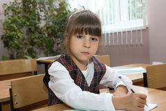 Schoolgirl of an elementary school Royalty Free Stock Images
