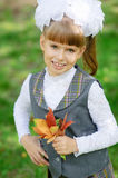 Schoolgirl first grader Royalty Free Stock Photo