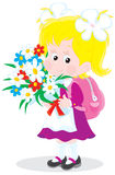 Schoolgirl with flowers. Vector illustration of a first grader holding a bouquet of flowers at the beginning of the school year on the first of September Stock Photos