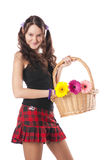 Schoolgirl With A Flowers Basket Royalty Free Stock Photo