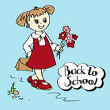 Schoolgirl with flowers and schoolbag Royalty Free Stock Image