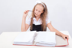 Schoolgirl with folder Stock Photography