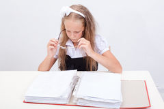 Schoolgirl with folder Stock Photos
