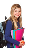 Schoolgirl with folder smiling Royalty Free Stock Photography