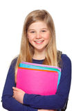 Schoolgirl with folder smiling Royalty Free Stock Photos