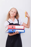 Schoolgirl with folders Royalty Free Stock Photography