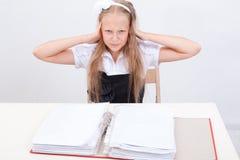 Schoolgirl with folders Stock Photo
