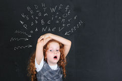 Schoolgirl with frightened, sad, worried stressed expression fac. E royalty free stock photography