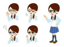 Schoolgirl full length and Facial expression set Royalty Free Stock Photo