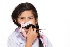 Schoolgirl gagged Royalty Free Stock Image