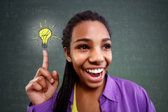 Schoolgirl genius in mathematics have a solution Royalty Free Stock Images