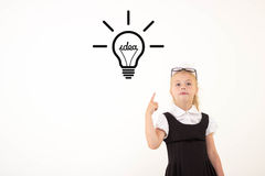 Schoolgirl get an idea Stock Image