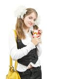 Schoolgirl with  gift Royalty Free Stock Images