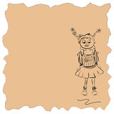 Schoolgirl. Girl with a briefcase. The simplified drawing on kraft paper Stock Image