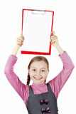 Schoolgirl girl with a poster in the hend Stock Image