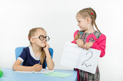 Schoolgirl with glasses again got a deuce Stock Images