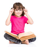 Schoolgirl with glasses red big book. isolated on white background Royalty Free Stock Photo