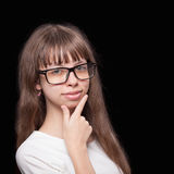 Schoolgirl in glasses Royalty Free Stock Photography
