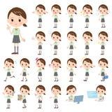 Schoolgirl Green shortsleeved shirt. Set of various poses of schoolgirl Green shortsleeved shirt Stock Photos