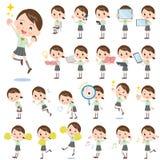 Schoolgirl Green shortsleeved shirt 2. Set of various poses of schoolgirl Green shortsleeved shirt 2 Stock Image