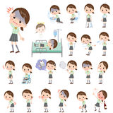 Schoolgirl Green shortsleeved shirt About the sickness Royalty Free Stock Photography