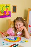 Schoolgirl Has Drawn A Rainbow Royalty Free Stock Photo